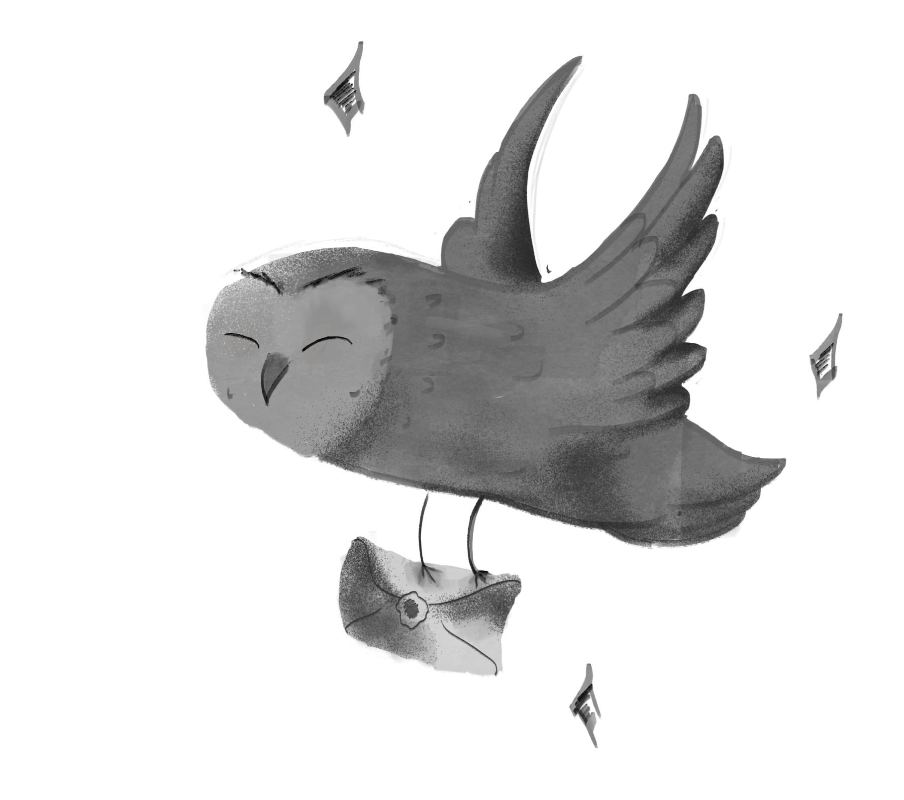 flying owl carrying a letter